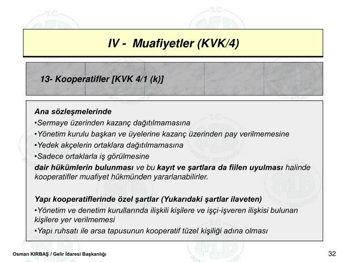 13- Kooperatifler [KVK 4/1 (k)]