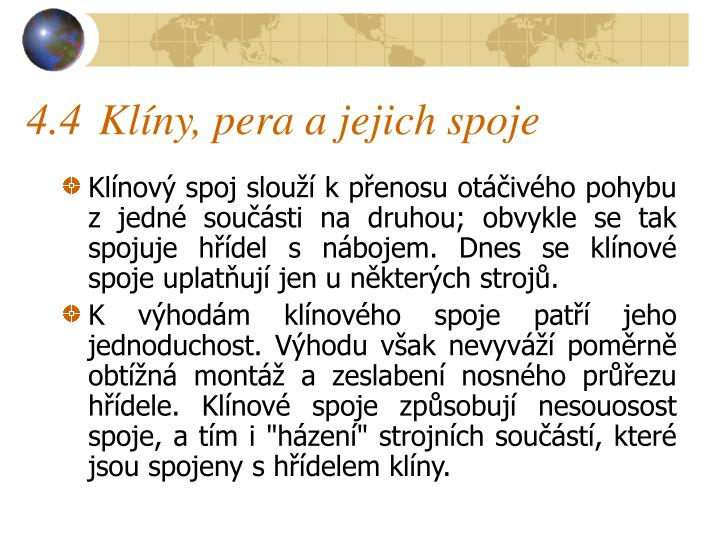 4.4Klíny, pera a jejich spoje