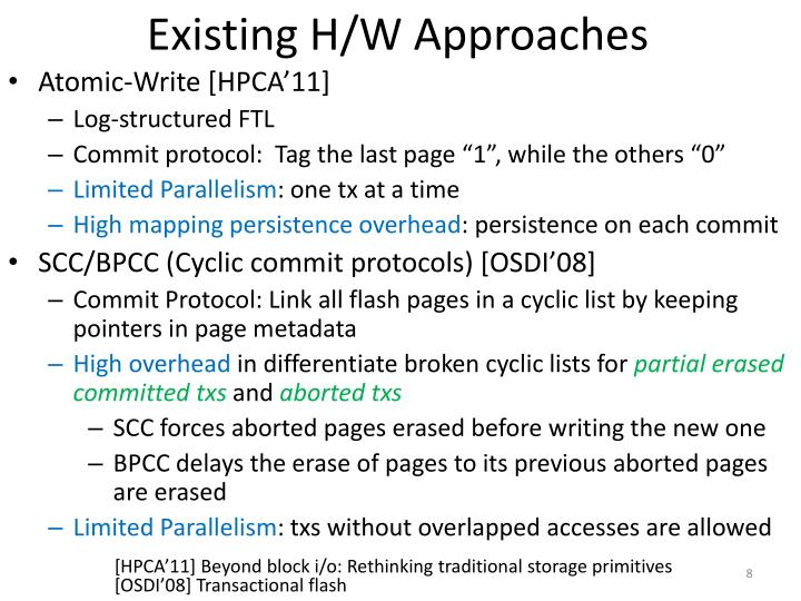 Existing H/W Approaches