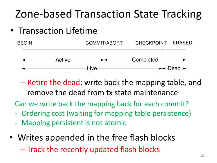 Zone-based Transaction State Tracking