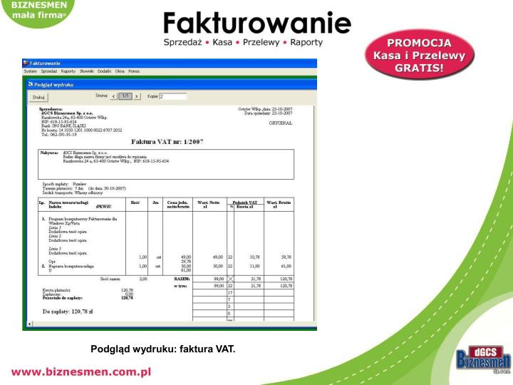 Podgląd wydruku: faktura VAT.