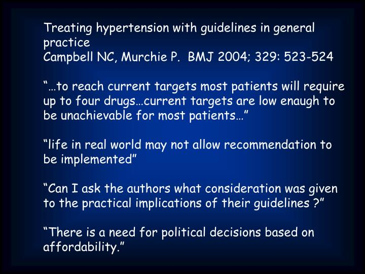 Treating hypertension with guidelines in general practice