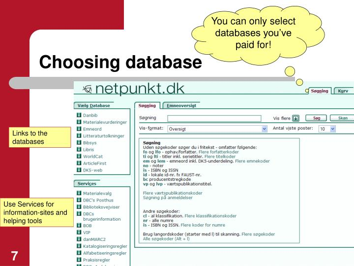 You can only select databases you've paid for!