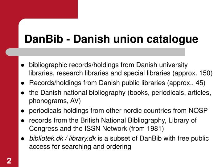 Danbib danish union catalogue