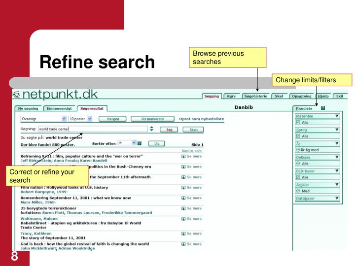 Refine search