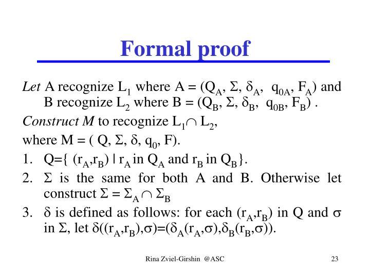 Formal proof