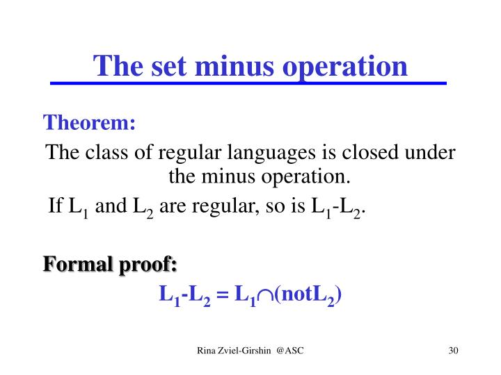 The set minus operation