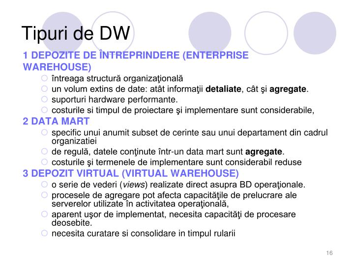 Tipuri de DW