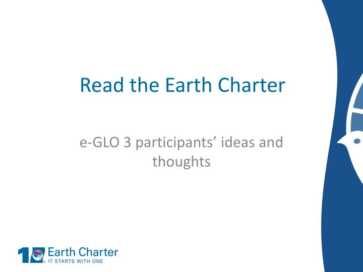 Read the Earth Charter