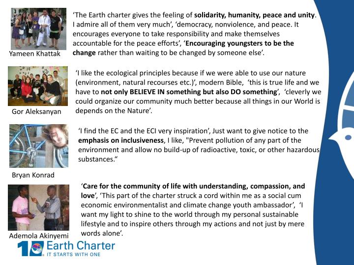 'The Earth charter gives the feeling of