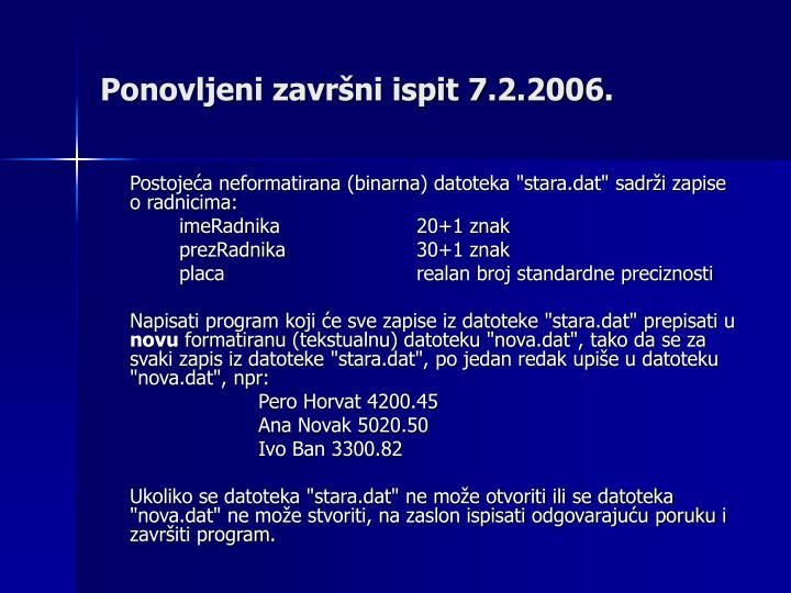 Ponovljeni završni ispit 7.2.2006.