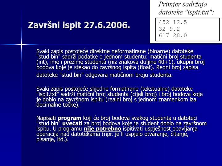 Završni ispit 27.6.2006.