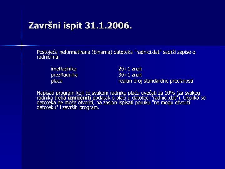 Završni ispit 31.1.2006.