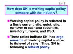 how does ski s working capital policy compare with the industry