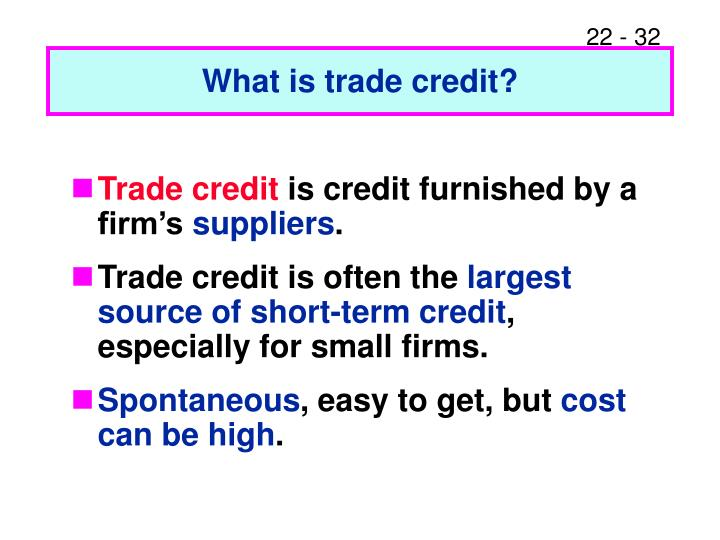 What is trade credit?