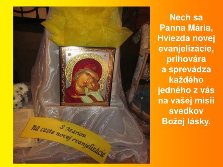 Nech sa Panna Mria, Hviezda novej evanjelizcie, prihovra asprevdza kadho jednho z vs na vaej misii svedkov Boej lsky.