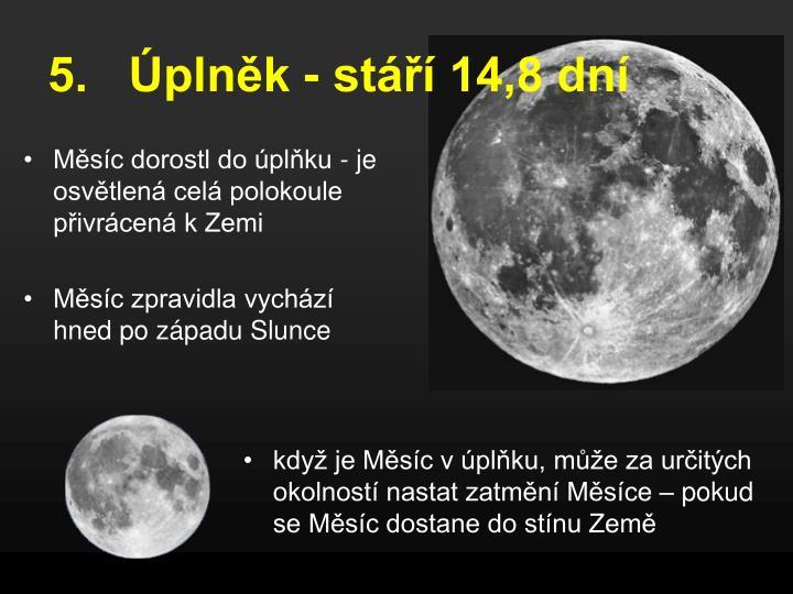 Měsíc dorostl do úplňku - je osvětlená celá polokoule přivrácená k Zemi