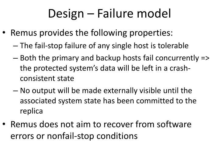 Design – Failure model