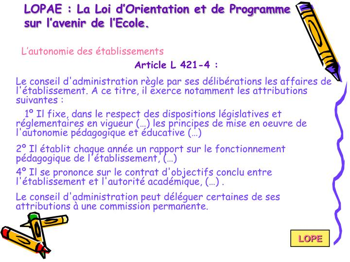 LOPAE : La Loi d'Orientation et de Programme sur l'avenir de l'Ecole.