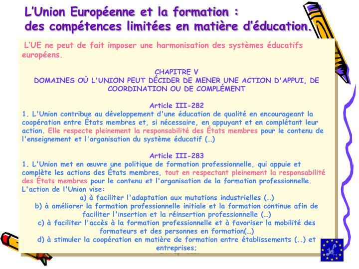 L'Union Européenne et la formation :