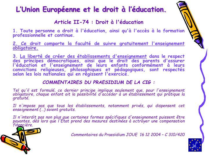 L'Union Européenne et le droit à l'éducation.