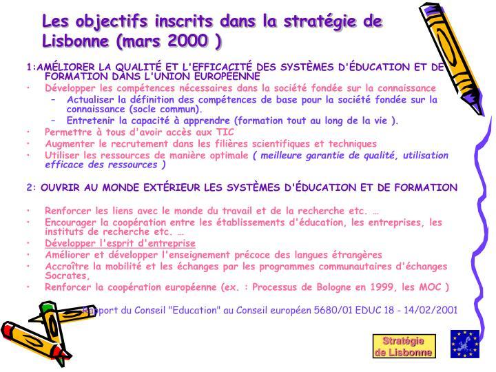 Les objectifs inscrits dans la stratégie de Lisbonne (mars 2000 )