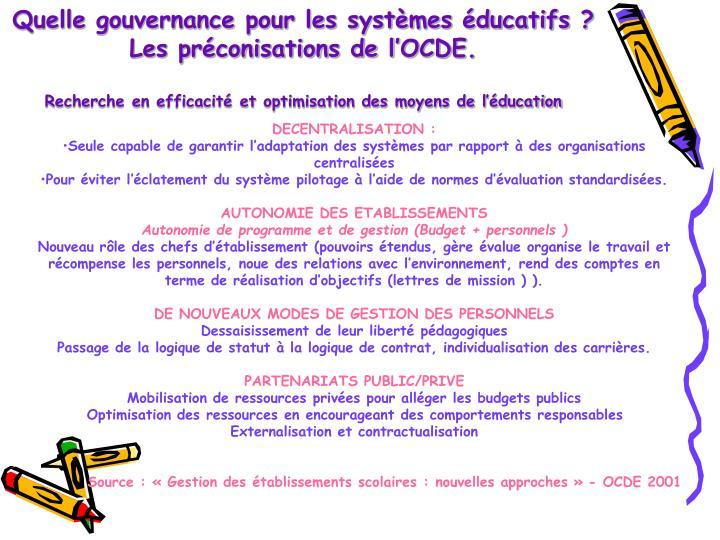 Quelle gouvernance pour les systèmes éducatifs ?