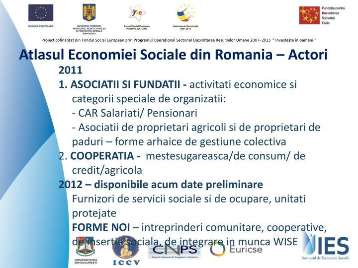 Atlasul Economiei Sociale din Romania – Actori