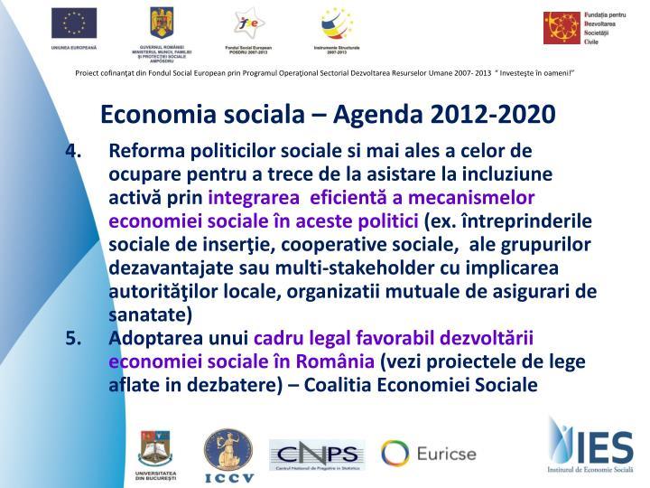 Economia sociala – Agenda 2012-2020