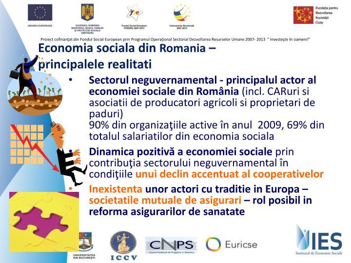 Sectorul neguvernamental - principalul actor al economiei sociale din România