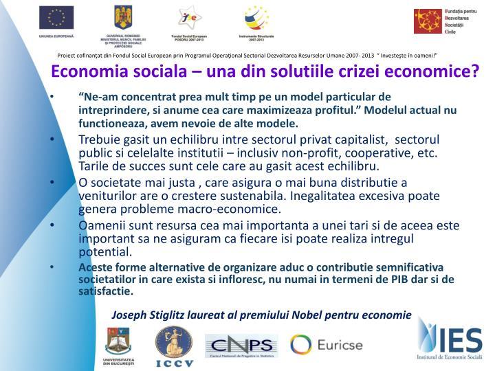 Economia sociala – una din solutiile crizei economice?