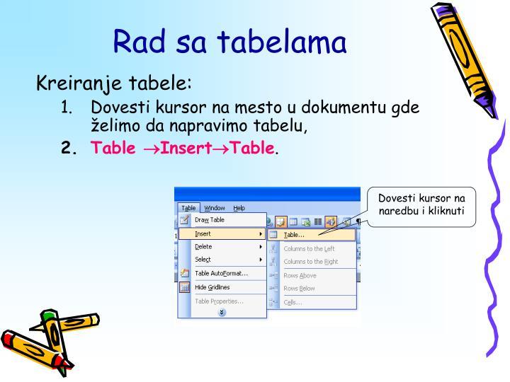 Kreiranje tabele: