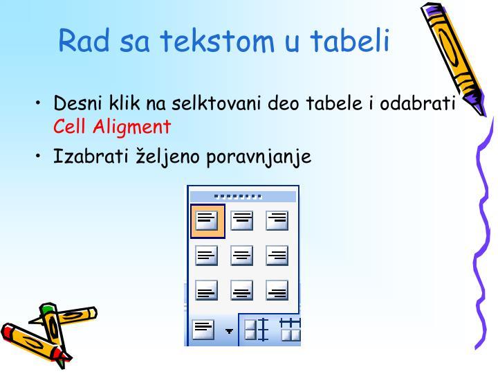 Rad sa tekstom u tabeli