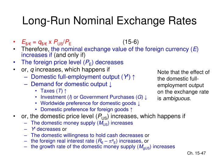 Long-Run Nominal Exchange Rates
