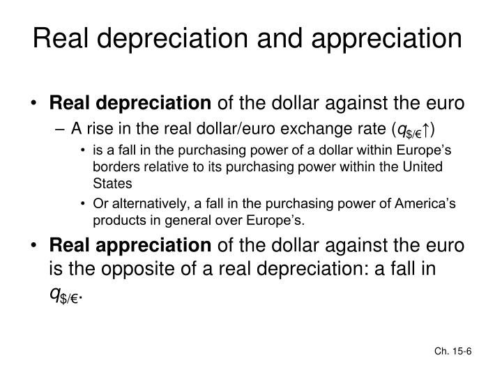 Real depreciation and appreciation