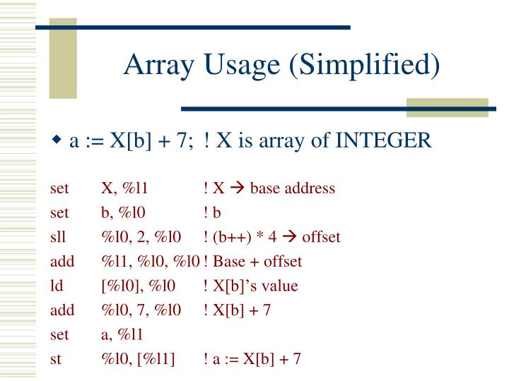 Array Usage (Simplified)