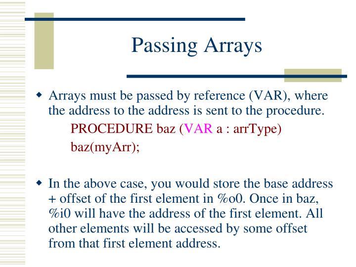 Passing Arrays