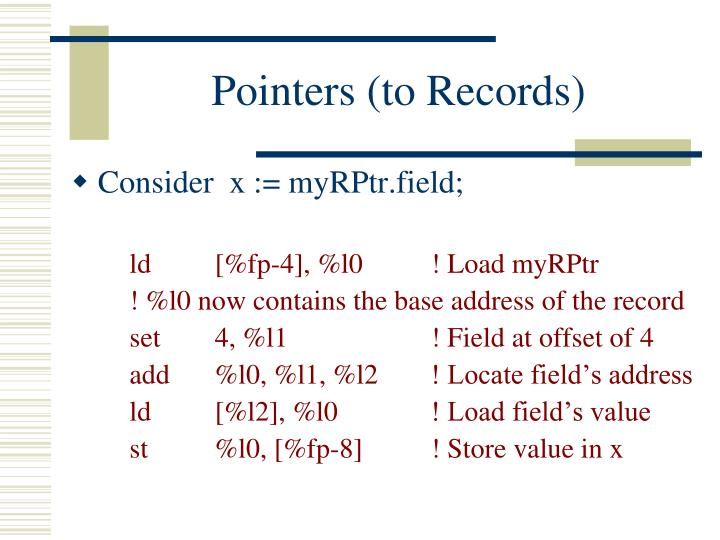Pointers (to Records)