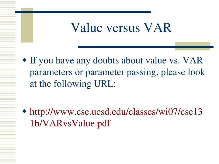 Value versus VAR