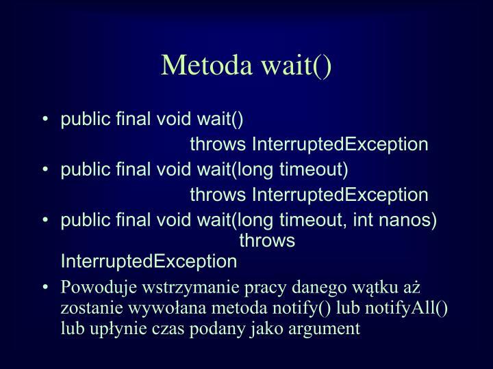 Metoda wait()