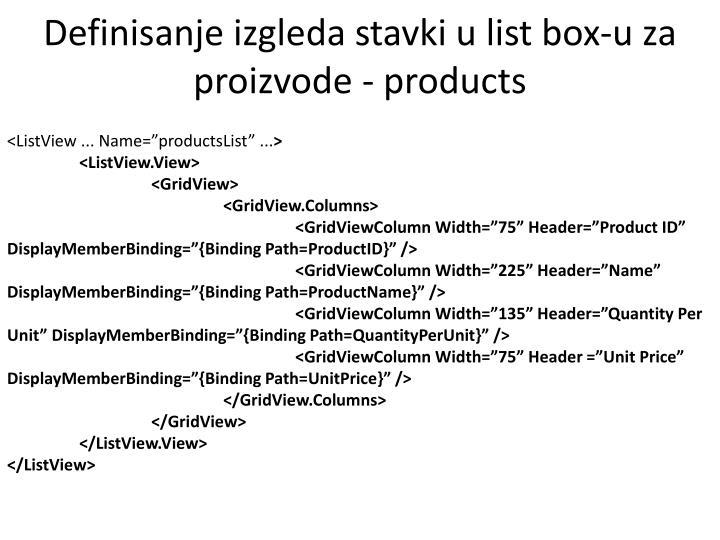 Definisanje izgleda stavki u list box-u za proizvode