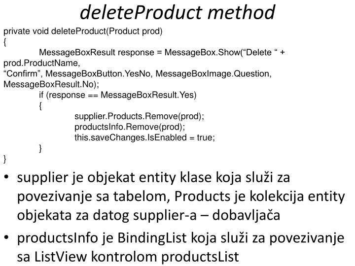 deleteProduct method
