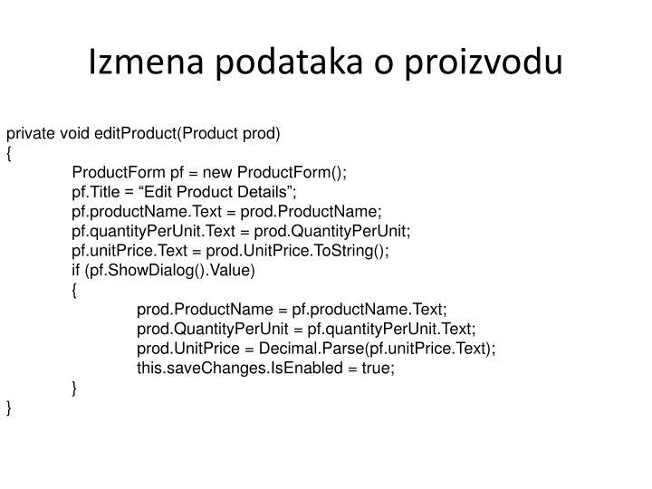 Izmena podataka o proizvodu