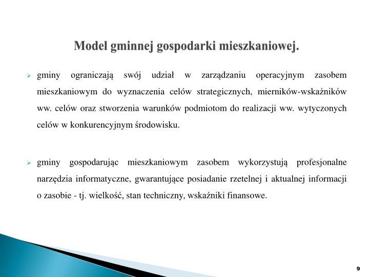 Model gminnej gospodarki mieszkaniowej.
