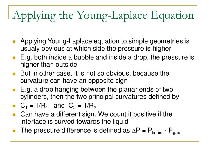 Applying the Young-Laplace Equation