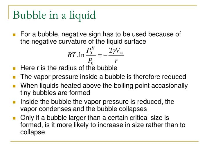 Bubble in a liquid