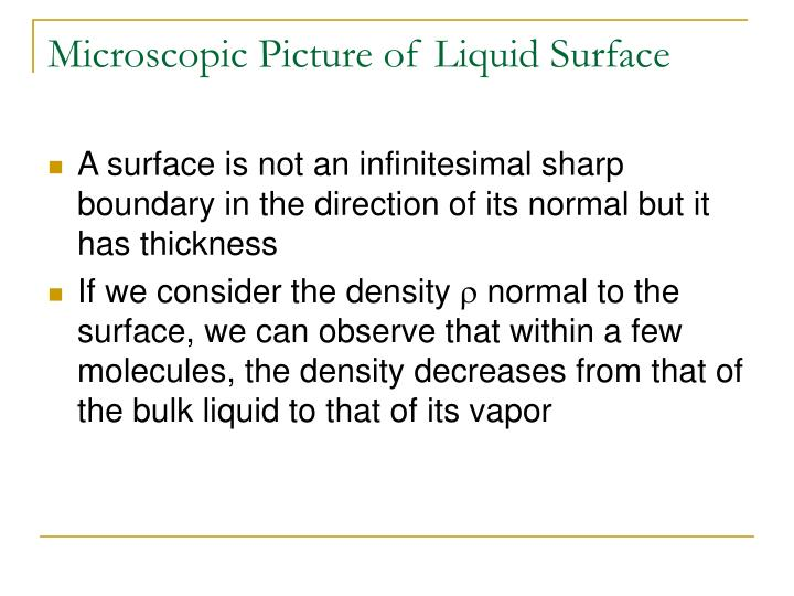 Microscopic Picture of Liquid Surface