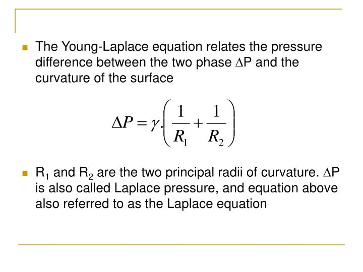 The Young-Laplace equation relates the pressure difference between the two phase