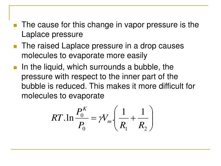 The cause for this change in vapor pressure is the Laplace pressure