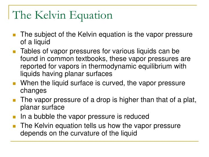 The Kelvin Equation
